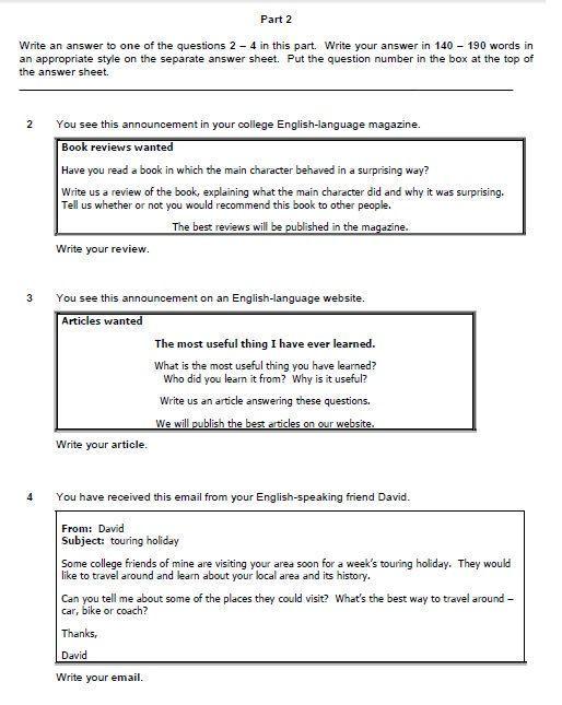 Consejos para preparar el Writing del First Certificate parte 2